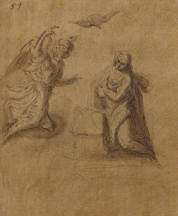 Jacopo Negretti zv. Palma il Giovane - okruh - Zvěstování Panně Marii