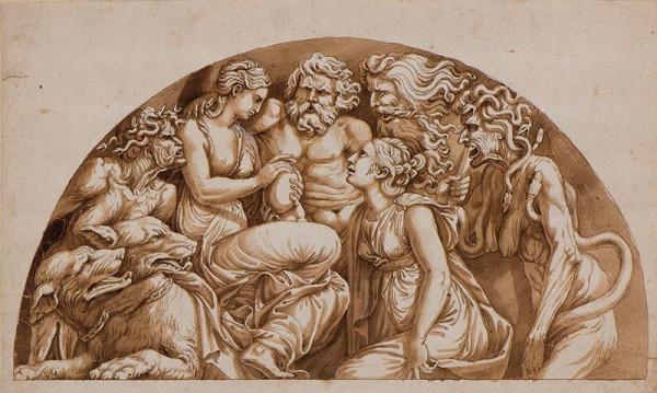 Giulio Pippi zv. Giulio Romano - podle - Psyché přijímá vázu od Proserpiny