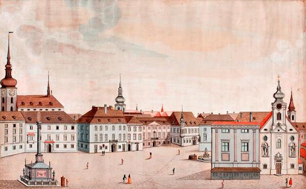 Josef Maserle - kopista - Velké náměstí v 18. století, pohled od západu