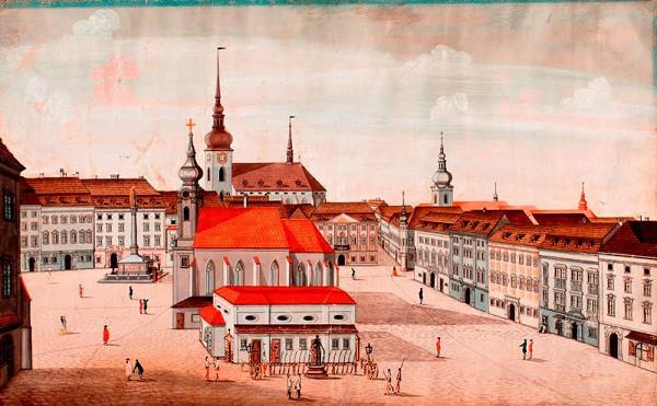 Josef Maserle - kopista - Velké náměstí v 60. letech 18. století, pohled od jihu