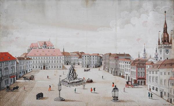 Josef Maserle - kopista - Zelný trh od východu v 2. pol. 18. století