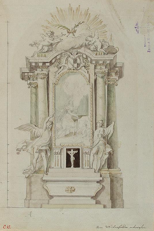 Josef Winterhalder II. (Winterhalter) - Návrh na oltář s obrazem sv. Cecílie
