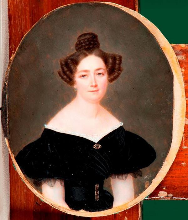neznámý miniaturista – Podobizna ženy v černých šatech