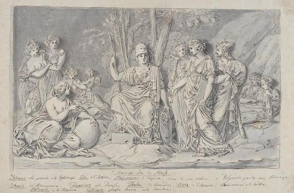 neznámý malíř italský - Minerva mezi Múzami