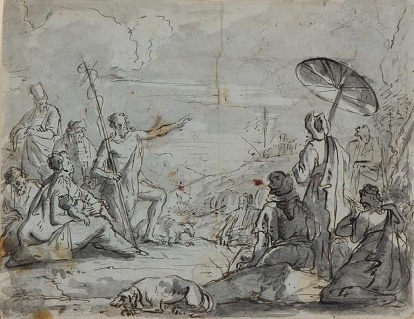 neznámý malíř italský - Kázání sv. Jana Křtitele