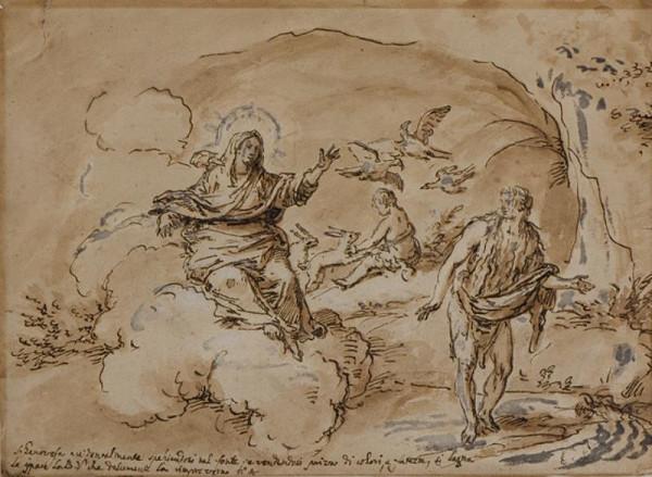 neznámý malíř italský - Panna Marie se zjevuje sv. Jenovéfě