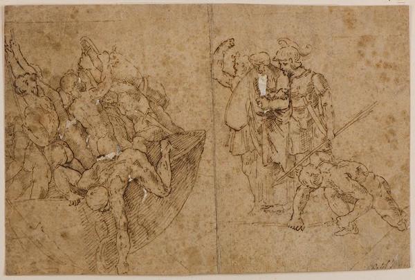Giulio Pippi zv. Giulio Romano - podle - Část z fresky Neptolemus bere Andromachu po dobytí Troje do zajetí