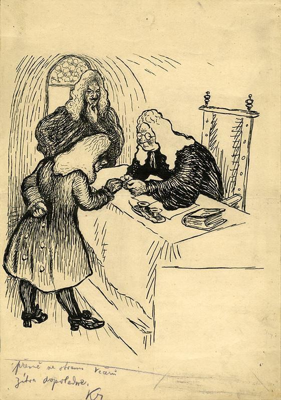 František Gellner – Satirická kresba pro Večery