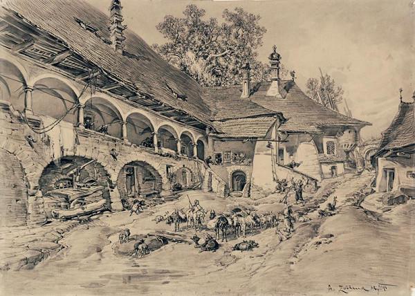 František Bohumír Zvěřina - Nádvoří kláštera sv.Lazara v Makedonii