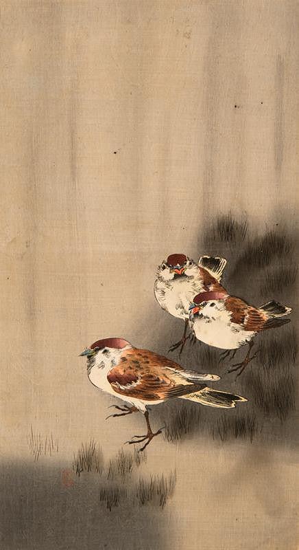 Ohara Koson (Šóson) - Tři vrabci
