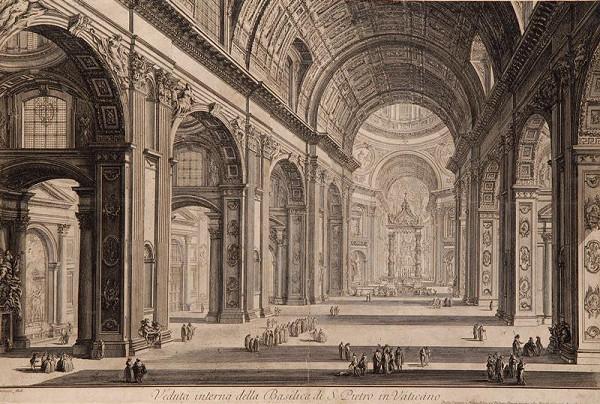 Giovanni Battista Piranesi - Interiér chrámu sv. Petra v Římě