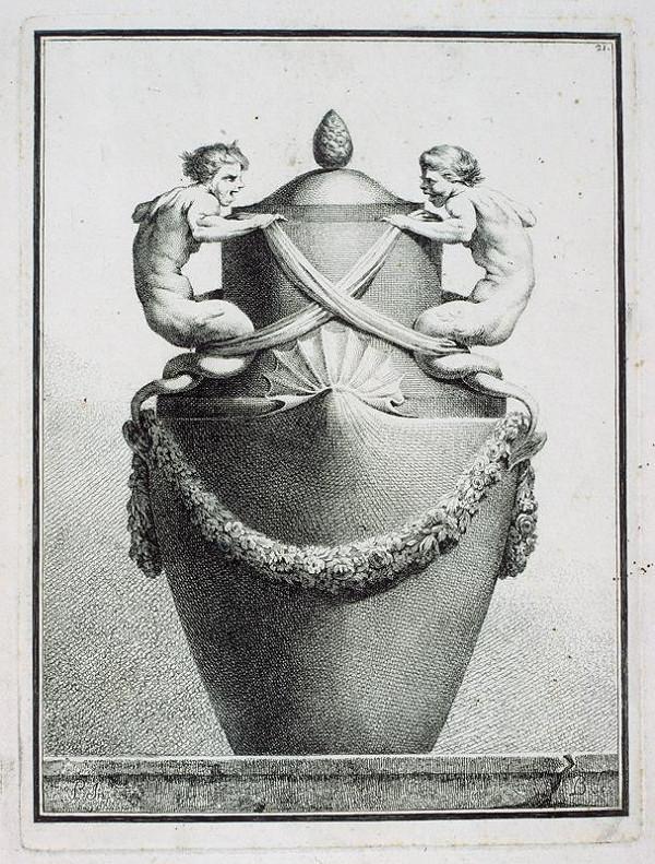 Benigno Bossi – Váza s dvěma mořskými bytostmi