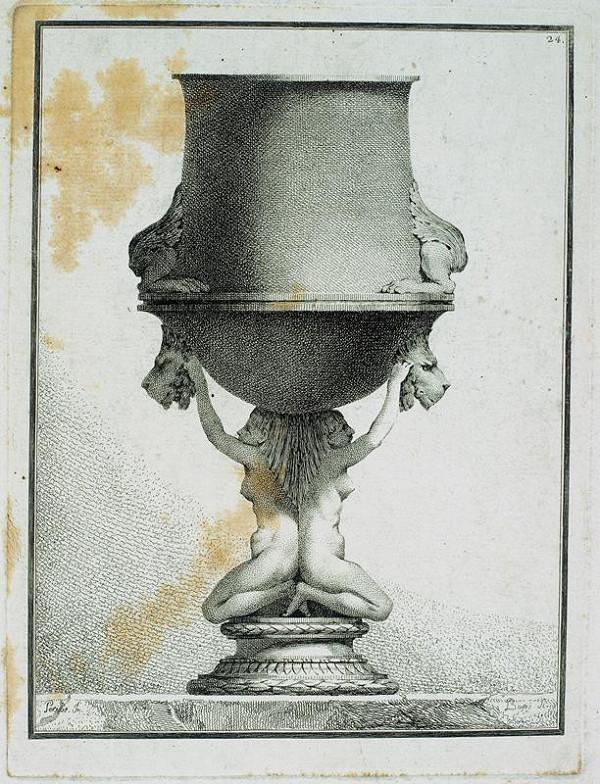Benigno Bossi – Váza  s  klečícími  karyatidami