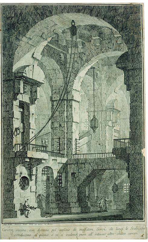 Giovanni Battista Piranesi – Vězení, list z cyklu Carceri d'invenzione, 16
