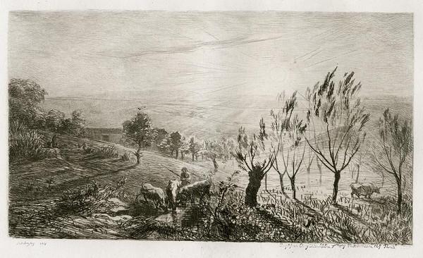 Charles Francois Daubigny - Západ slunce na pastvě