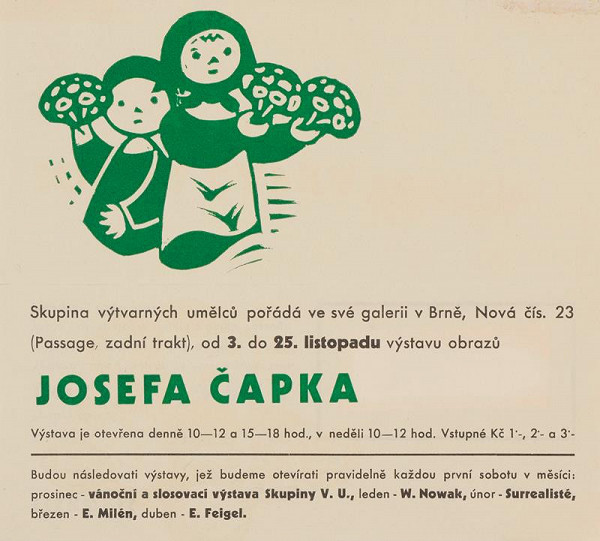 Josef Čapek - Děti s květinami - pozvánka