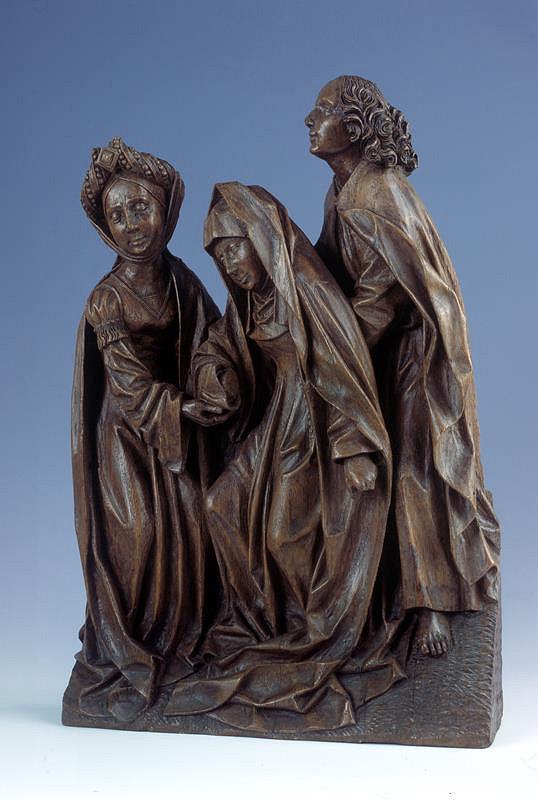 Adriaen van Wesel (?) - dílna - Panna Marie, sv.Jan a Maří Magdaléna - fragment z Ukřižování