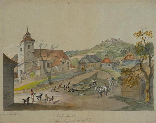 František (Franz) Richter – Pohled na kostel a zříceninu Brníčko.