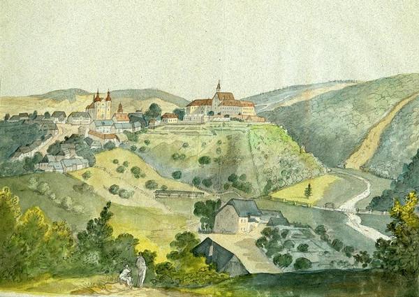 František (Franz) Richter – Pohled na zámek a kostel v Lomnici