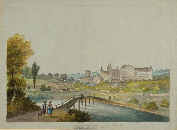 František (Franz) Richter - Pohled na klášter (Louka u Znojma)