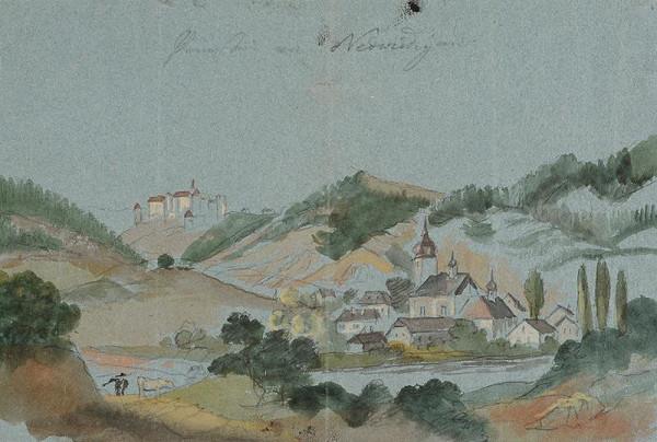 František (Franz) Richter – Pohled na Nedvědice ( a Pernštejn)