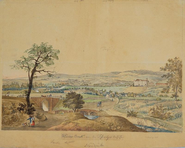 František (Franz) Richter - Pohled od severu na klášter v Louce u Znojma