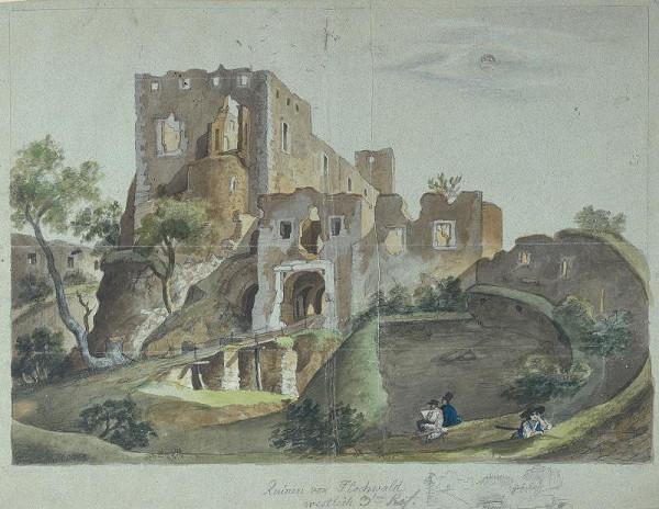 František (Franz) Richter - Zříceniny hradu Hukvaldy od západu