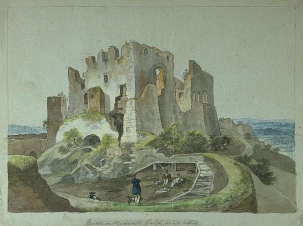 František (Franz) Richter - Hukvaldy (Zříceniny hradu od východu)