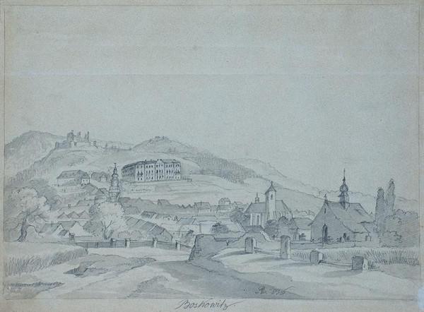 František (Franz) Richter - Pohled na zámek a zříceninu hradu v Boskovicích.