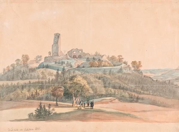 František (Franz) Richter - Pohled na zříceniny Zubštejna od západu