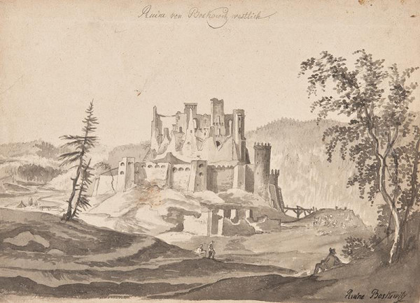 František (Franz) Richter – Pohled od západu na zříceninu hradu Boskovic.