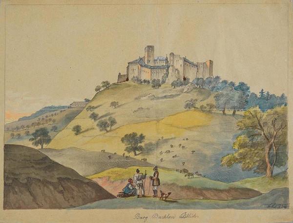František (Franz) Richter - Pohled na hrad Buchlov od západu.