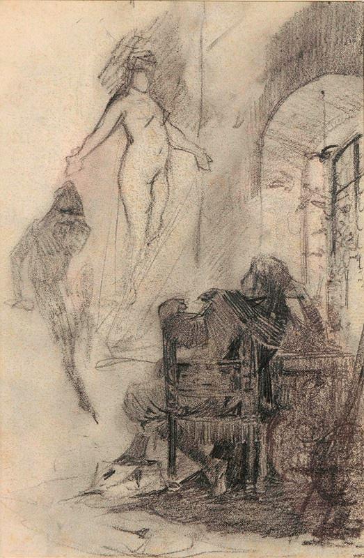 Alfons Mucha - Studie ilustrace k Faustovi (Zjevení Heleny)