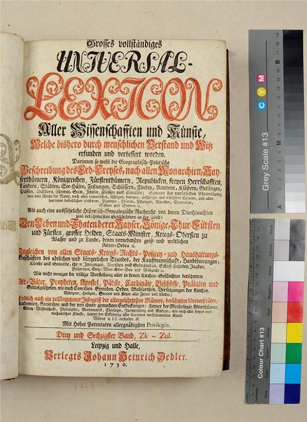 neurčený autor, Heinrich Johann Zedler – Grosses vollständiges Universal Lexicon. Drey und sechzigster Band