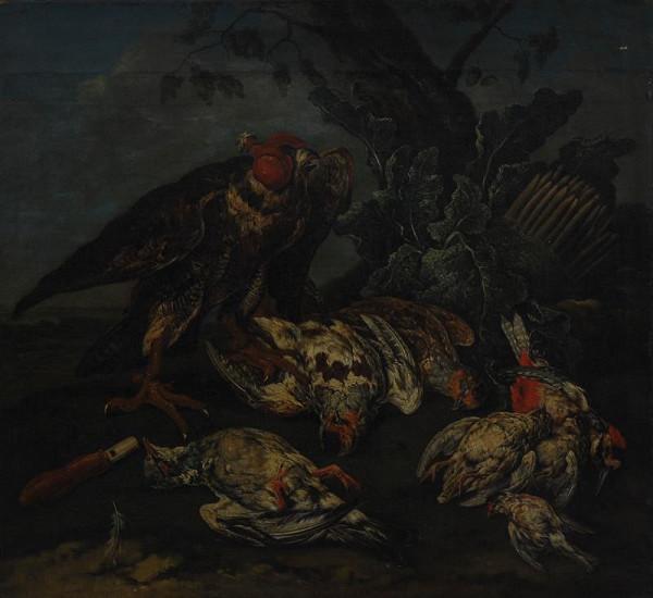 Karel Wilhelm Hamilton - Mrtví ptáci s živým sokolem