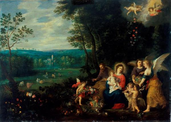 Andries Snellinck - Krajina se Svatou rodinou, malým Janem Křtitelem a anděly