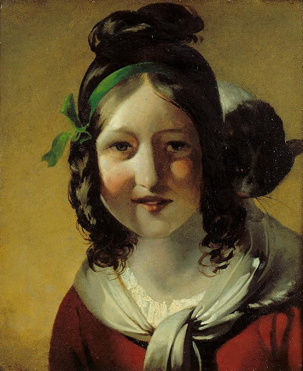 Friedrich von Amerling - Dívka s kočkou