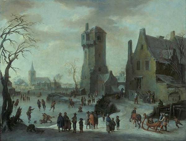 Franz de Paula Ferg – Zimní krajina s bruslaři, selským stavením a věží