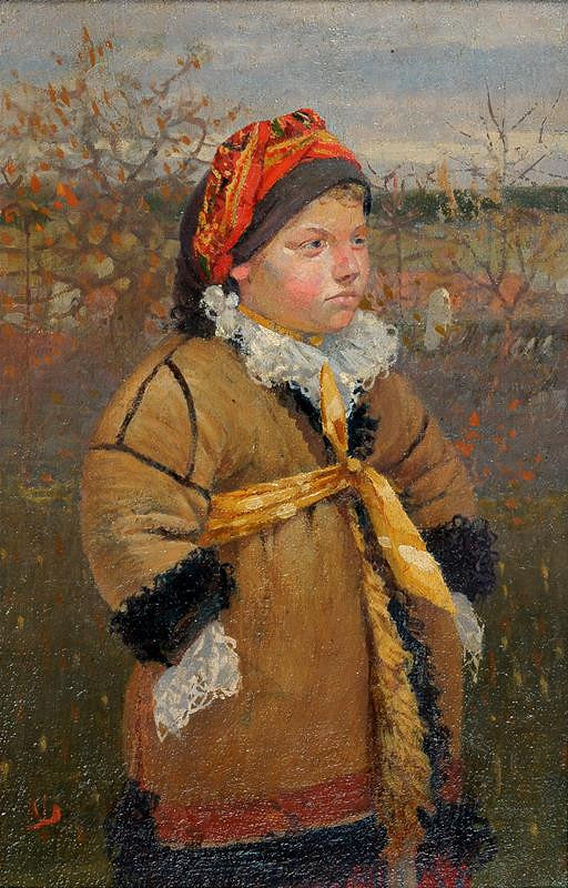 Joža Uprka – Děvčátko v kožichu (Kněždubské děvčátko v kožuchu)