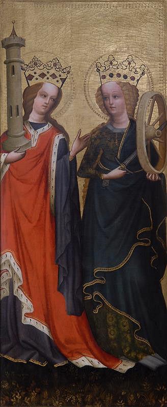 neznámý malíř rakouský (?) – Sv. Kateřina a sv. Barbora, na zadní straně Anděl ze Zvěstování