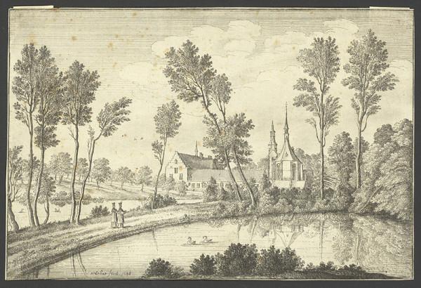 Václav Hollar – Pohled na opatství Rothendael, podle Pietra van Avonta