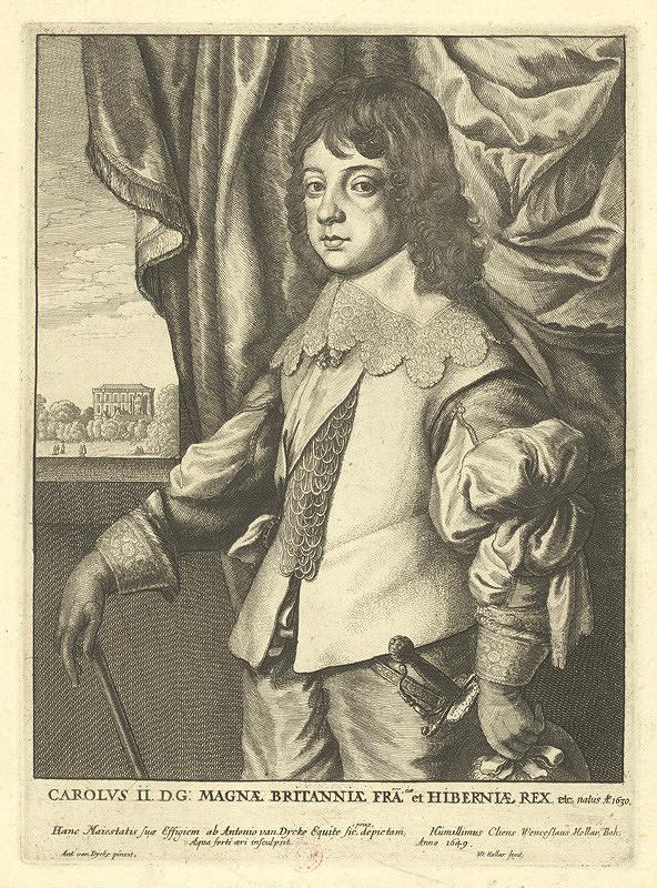 Václav Hollar - Karel II., podle Anthonise van Dycka