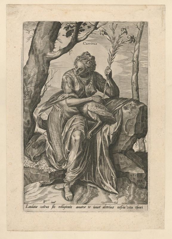 Cornelis Cort – Alegorie cudnosti (podle Franse Florise)
