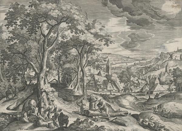 Jan Sadeler st. – Krajina s drvoštěpy (podle H. Bola)