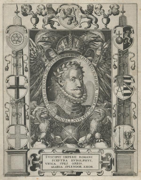 Aegidius Sadeler – Podobizna císaře Rudolfa II. v kartuši se sedmi erby a říšskou orlicí
