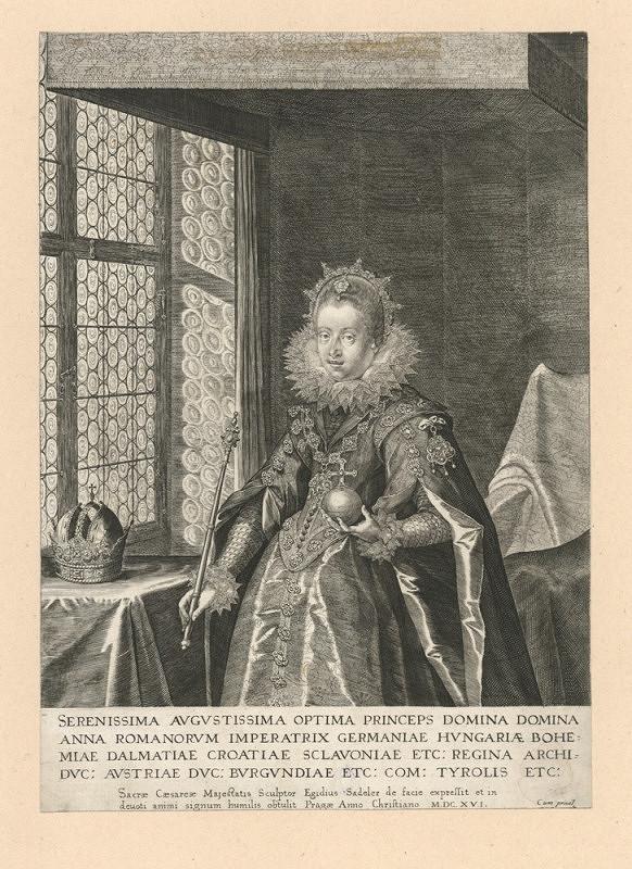 Aegidius Sadeler – Císařovna Anna, manželka Matyáše
