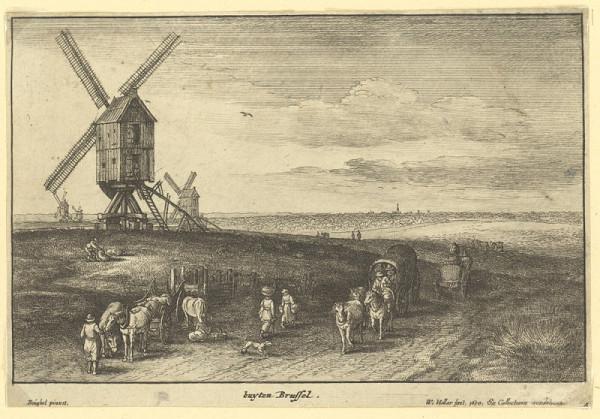 Václav Hollar – Krajina s větrnými mlýny u Bruselu (podle Jana Brueghela)