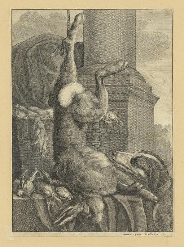Václav Hollar – Zátiší se zajícem, ptáky a psem (podle Peetera Boela)