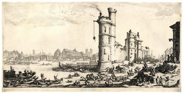 Jacques Callot – Pohled na Pont Neuf v Paříži