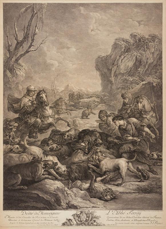 Jean Jacob Flipart – Štvanice na medvědy (podle C. Vanloo)